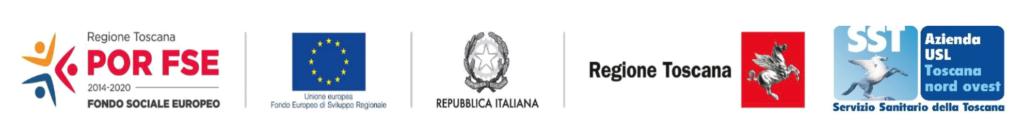 partner del progetto: Regione Toscana, Unione Europea, Fondo Europeo di Sviluppo Regionale, Repubblica Italiana, Fondo sociale europeo, Azienda USL Toscana nord ovest